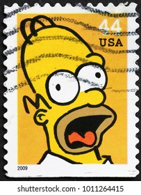 Milan, Italy - January 22, 2018: Homer Simpson on american postage stamp