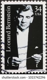 Milan, Italy - January 22, 2018: Conductor Leonard Bernstein on american postage stamp