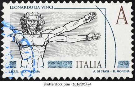 Milan, Italy - January 22, 2018: Vitruvian Man by Leonardo on italian postage stamp