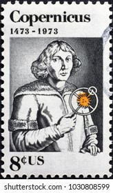 Milan, Italy - January 22, 2018: Nicolaus Copernicus on american postage stamp