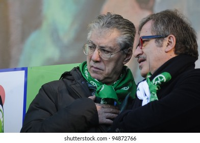 MILAN, ITALY - JANUARY 22: Lega Nord demonstration held in Milan on January, 22 2012: Maroni and Bossi at Lega Nord demonstration fighting against Monti government and south of Italy