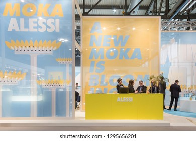 MILAN, ITALY - JANUARY 25: Alessi stand at HOMI, home international show and point of reference for all those in the sector of interior design on JANUARY 25, 2019 in Milan.