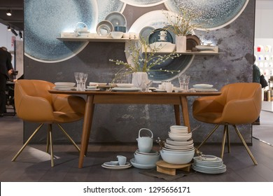 MILAN, ITALY - JANUARY 25: Furniture on display at HOMI, home international show and point of reference for all those in the sector of interior design on JANUARY 25, 2019 in Milan.