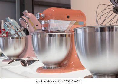 MILAN, ITALY - JANUARY 25: Kitchen Aid machines on display at HOMI, home international show and point of reference for all those in the sector of interior design on JANUARY 25, 2019 in Milan.