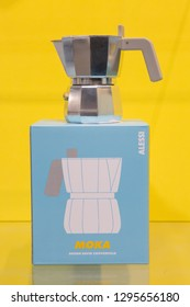 MILAN, ITALY - JANUARY 25: New Alessi moka on display at HOMI, home international show and point of reference for all those in the sector of interior design on JANUARY 25, 2019 in Milan.