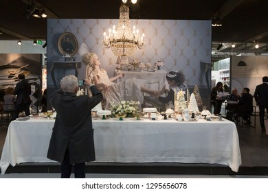 MILAN, ITALY - JANUARY 25: People visit HOMI, home international show and point of reference for all those in the sector of interior design on JANUARY 25, 2019 in Milan.