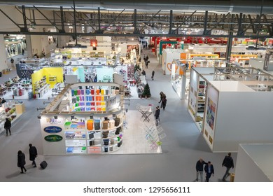 MILAN, ITALY - JANUARY 25: Top view of people and booths at HOMI, home international show and point of reference for all those in the sector of interior design on JANUARY 25, 2019 in Milan.