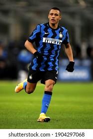 MILAN, ITALY - January 26, 2021:  Alexis Sanchez in action during the Coppa Italia 2020-2021 INTER v MILAN at San Siro Stadium.
