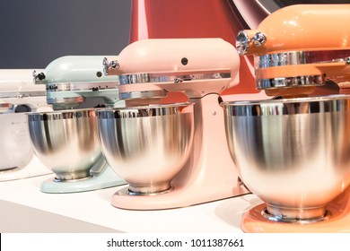 MILAN, ITALY - JANUARY 26: KitchenAid stand mixers on display at HOMI, home international show and point of reference for all those in the sector of interior design on JANUARY 26, 2018 in Milan.