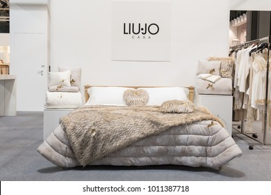 MILAN, ITALY - JANUARY 26: Liu Jo double bed on display at HOMI, home international show and point of reference for all those in the sector of interior design on JANUARY 26, 2018 in Milan.