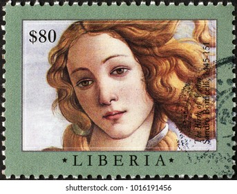 Milan, Italy - January 27, 2018: Portrait of Venus by Botticelli on postage stamp