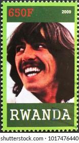 Milan, Italy - January 27, 2018: George Harrison on postage stamp of Rwanda