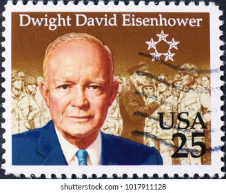 Milan, Italy - January 27, 2018: President Dwight Eisenhower on american postage stamp
