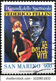 Milan, Italy - January 27, 2018: Movie La dolce vita by Fellini on postage stamp