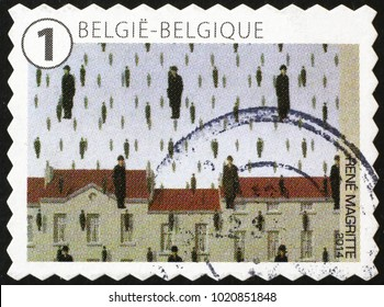 Milan, Italy - January 27, 2018: Masterpiece by Magritte on belgian postage stamp