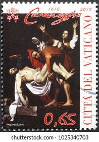 Milan, Italy - January 27, 2018: Masterpiece by Caravaggio on stamp of Vatican City