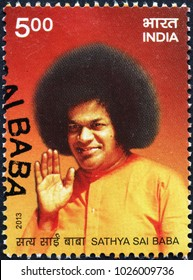 Milan, Italy - January 27, 2018: Indian guru Sai Baba on postage stamp