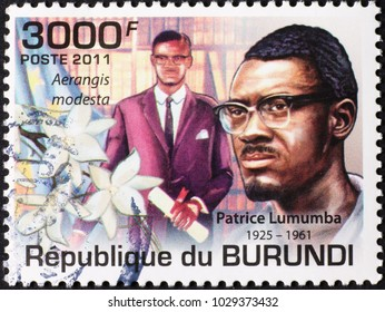 Milan, Italy - January 27, 2018: Patrice Lumumba on postage stamp of Burundi