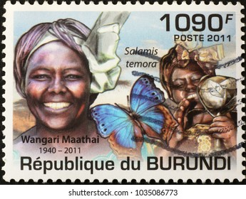 Milan, Italy - January 27, 2018: Nobel awarded Wangari Maathai on stamp of Burundi