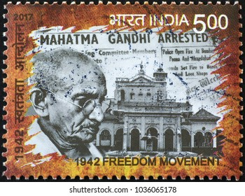 Milan, Italy - January 27, 2018: Gandhi's arrest on indian postage stamp