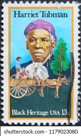 Milan, Italy – January 27, 2018: Black heritage, Harriet Tubman on american stamp