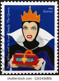 Milan, Italy – January 27, 2018: The queen of Snow White on american postage stamp