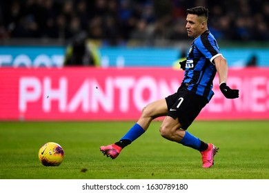 MILAN, ITALY - JANUARY 29, 2020: Alexis Sanchez of FC Internazionale in action during the Coppa Italia football match between FC Internazionale and ACF Fiorentina.