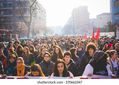 MILAN, ITALY - JANUARY 29: students demonstrating against the meeting between Marie Le Pen and Matteo Salvini on Milan on January 29, 2016. Crowd marching against racism, fascism and sessism