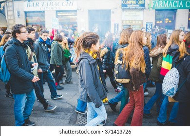MILAN, ITALY - JANUARY 29: students demonstrating against the meeting between Marie Le Pen and Matteo Salvini in Milan on January 29, 2016. Crowd marching against racism, fascism and sessism