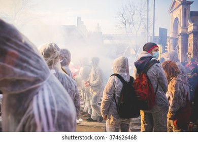 MILAN, ITALY - JANUARY 29: Students demonstrating against the meeting between Marie Le Pen and Matteo Salvini in Milan on January 29, 2016.. Crowd marching against racism, fascism and sessism