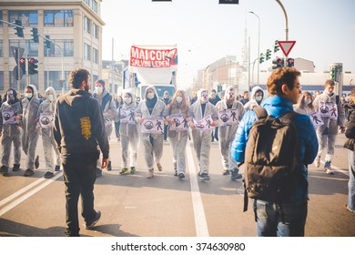 MILAN, ITALY - JANUARY 29: students demonstrating against the meeting between Marie Le Pen and Matteo Salvini on Milan on January 29, 2016. Students marching dressed like exterminator