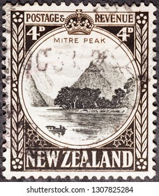 Milan, Italy – January 30, 2017: Mitre peak on vintage New Zealand postage stamp