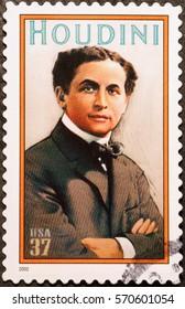 Milan, Italy - January 30, 2017: Illusionist Houdini on american postage stamp