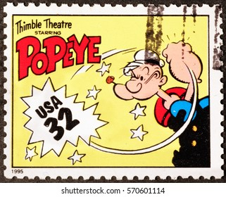 Milan, Italy - January 30, 2017: Popeye on american postage stamp