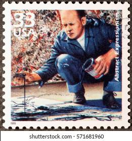 Milan, Italy - January 30, 2017: Jackson Pollock at work on american postage stamp
