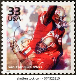 Milan, Italy - January 30, 2017: San Francisco 49ers on american postage stamp