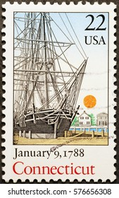 Milan, Italy - January 30, 2017: Celebration of Connecticut on american postage stamp