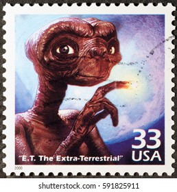 Milan, Italy - January 30, 2017: E.T. the Extraterrestrial on american postage stamp