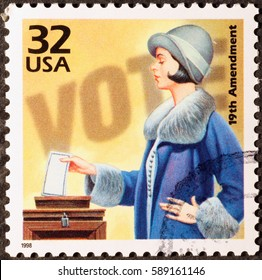 Milan, Italy - January 31, 2017:  Celebration of woman suffrage on american postage stamp