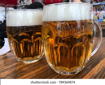 Milan,  Italy - January 7, 2018 - The Pilsner Urquell in pub of the Lombard capital
