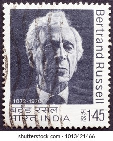 Milan, Italy - January 9, 2018: Philosopher Bertrand Russell on postage stamp