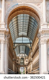 Milan, Italy  - July 01, 2015: Detail of wall and roof of Vittorio Emmanuele II shopping gallery or Highline Galleria in Milan, Italy. Architectural background.