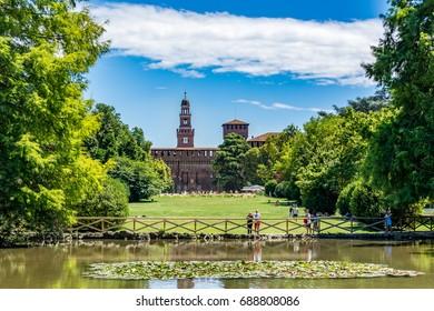 Milan, Italy - July, 02, 2017 - Sforza Castle - Castello Sforzesco, view from Parco Sempione - Sempione Park