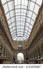 MILAN, ITALY - JULY 09, 2013: Oldest Shopping Mall Arcade Galleria Vittorio Emanuele II in Milan, Italy.