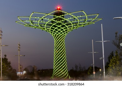 MILAN, ITALY - JULY 11, 2015: Long exposure evening photo of the beautiful light show from the Tree of Life (Albero della vita in Italian), the symbol of Expo 2015 area.
