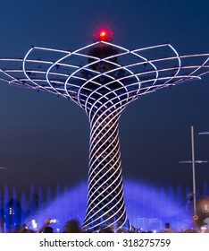 MILAN, ITALY - JULY 11, 2015: Long exposure night photo of the beautiful light and water fountain show from the Tree of Life (Albero della vita in Italian), the symbol of Expo 2015 area.