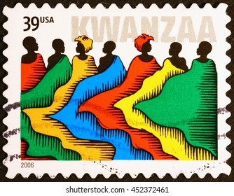 Milan, Italy - July 13, 2016: Kwanzaa celebrated on american postage stamp