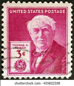 Milan, Italy - July 14, 2016: Thomas Edison on vintage american postage stamp