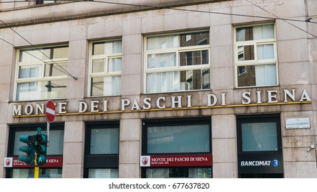 Milan, Italy - July 14th, 2017: Outside a branch of Italy's fourth-largest bank Monte dei Paschi di Siena, which was recently bailed out by the Italian government