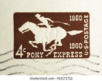 Milan, Italy - July 15, 2016: Pony express on american postage stamp